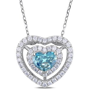 Miadora 14k Gold 1ct TDW Blue and White Diamond Necklace (G-H, I1-I2)