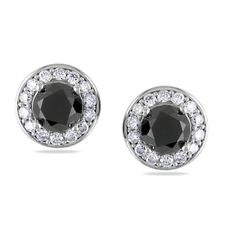 Miadora 14k Gold 2ct TDW Black and White Diamond Earrings (G-H, SI1-SI2)