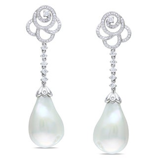 Miadora Signature Collection 14k Gold Pearl and 1ct TDW Diamond Earrings (G-H, SI1-SI2)