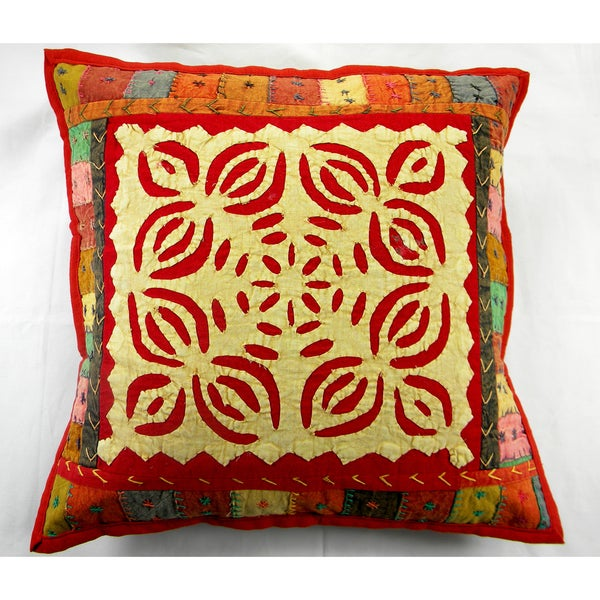 Red and Beige Patchwork Cushion Cover (India)