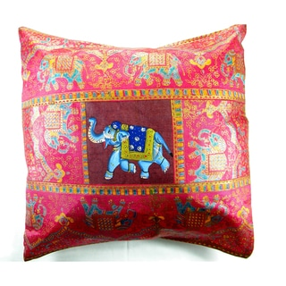 Happy Elephant Handpainted Silk Cushion Cover (India)