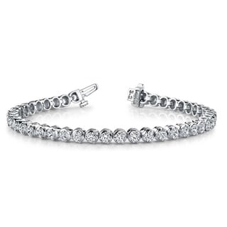 14k White Gold 7ct TDW Round Diamond Tennis Bracelet (G-H, VS1-VS2)
