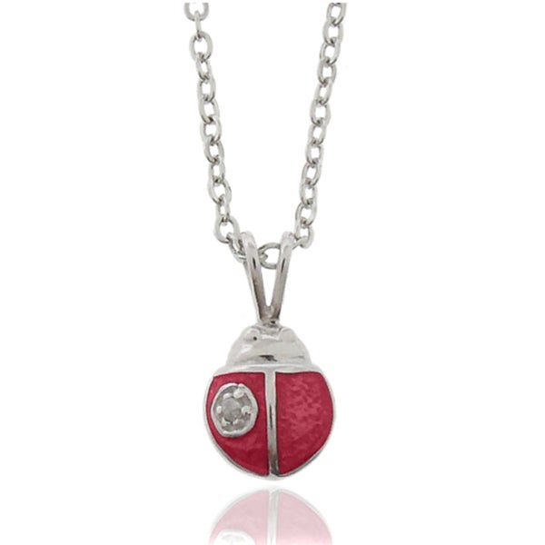 Finesque Molly and Emma Silver Children's Diamond Red Enamel Ladybug Necklace