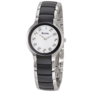 Bulova Women's Black and Silver Ion-plated Diamond Watch
