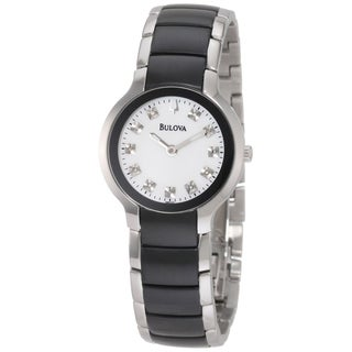 Bulova Women's 98P127 Black and Silver Ion-plated Diamond Watch