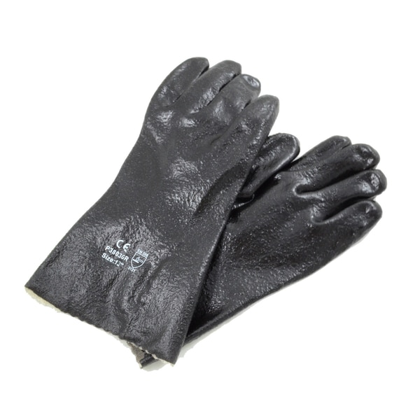 Azusa Safety Black PVC Interlock Liner Rough Finish 12-inch Gloves (12 Pairs)