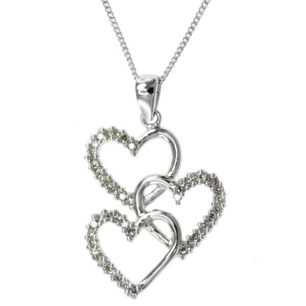 Michael Valitutti 14k Gold 1/4ct TDW Diamond Heart Necklace (I-J, I1-I2)