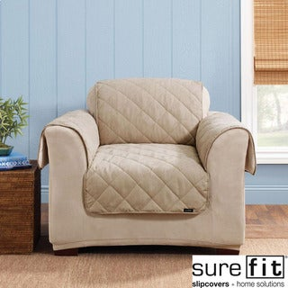 Sure Fit Reversible Soft Suede/Sherpa Taupe Chair Cover