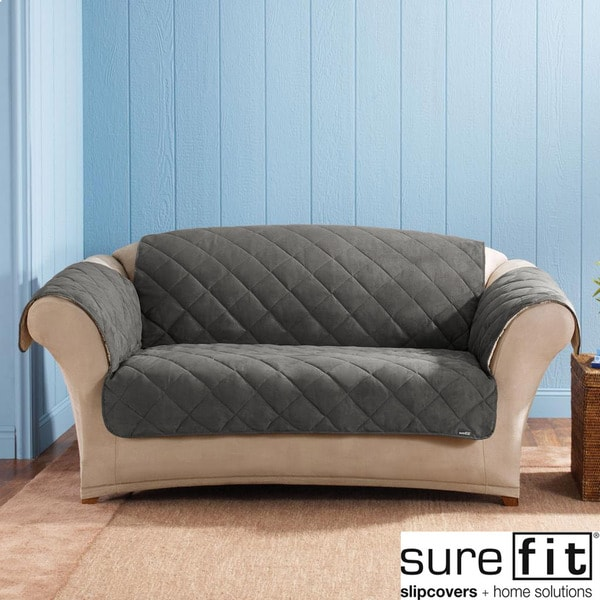 Sure Fit Graphite Reversable Quilted Sherpa Sofa Cover