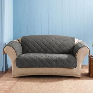 Sure Fit Graphite Reversible Quilted / Sherpa Loveseat Cover
