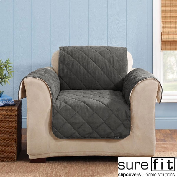 Sure Fit Reversible Graphite Chair Cover