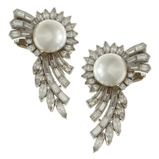 Pre-owned Platinum Pearl and 4ct TDW Diamond Antique Estate Earrings (H-I, SI1-SI2)