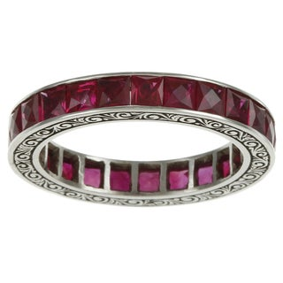 Platinum Ruby Antique Estate Eternity Band
