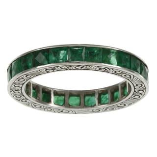 Platinum Emerald Antique Estate Eternity Band
