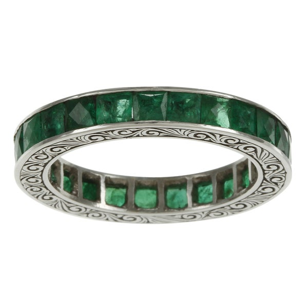 Platinum Emerald Antique Estate Eternity Band