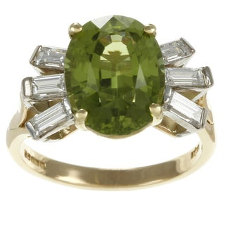 18k Yellow Gold Peridot and 1/3ct TDW Diamond Estate Ring (G-H, SI1-SI2)
