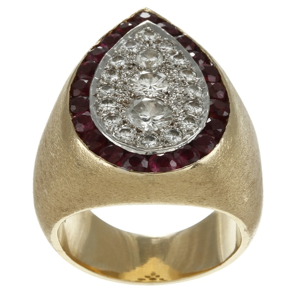 Pre-owned 14k Gold 1 3/5ct TDW Diamond and Ruby Estate Cocktail Ring (G-H, SI1-SI2)