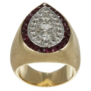 14k Gold 1 3/5ct TDW Diamond and Ruby Estate Cocktail Ring (G-H, SI1-SI2)