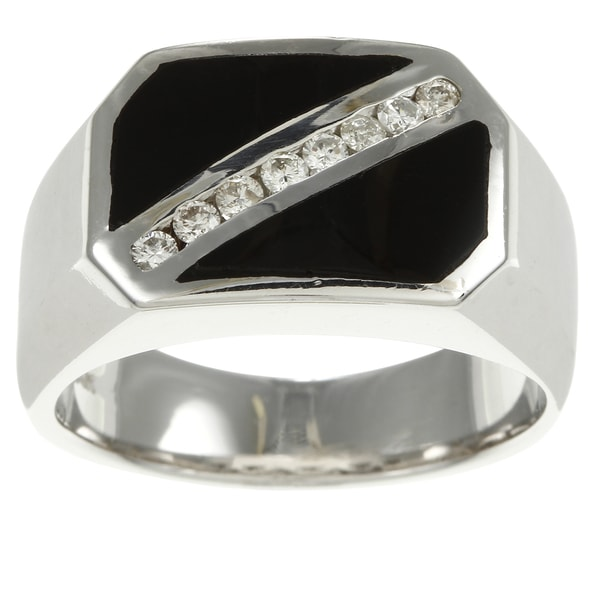 Pre-owned 14k White Gold Onyx and 1/5ct TDW Diamond Estate Ring (F-G, SI1-SI2)