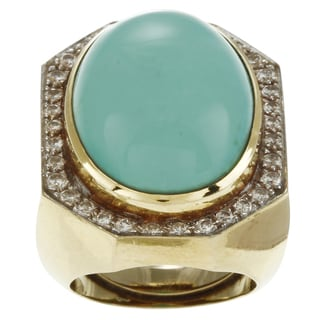 18k Gold Turquoise and 1ct TDW Diamond Cocktail Art Deco Estate Ring (G-H, SI1-SI2)