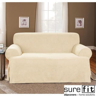 Sure Fit Cream T-cushion Loveseat Slipcover