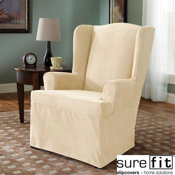 Sure Fit Cream Wing Chair Cover Overstock