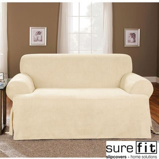 Soft Suede Cream T-cushion Sofa Slipcover