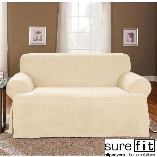 Sure Fit Soft Suede Cream T Cushion Sofa Slipcover
