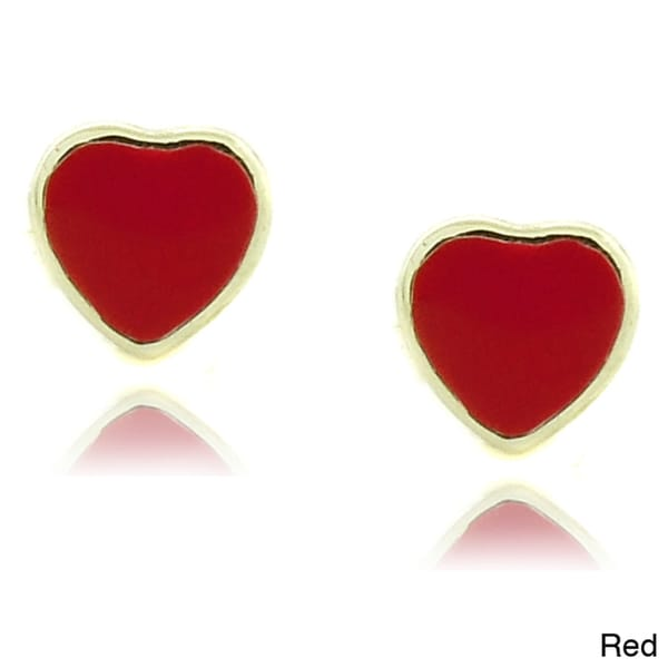 Molly and Emma 18k Gold Overlay Children's Enamel Heart Stud Earrings