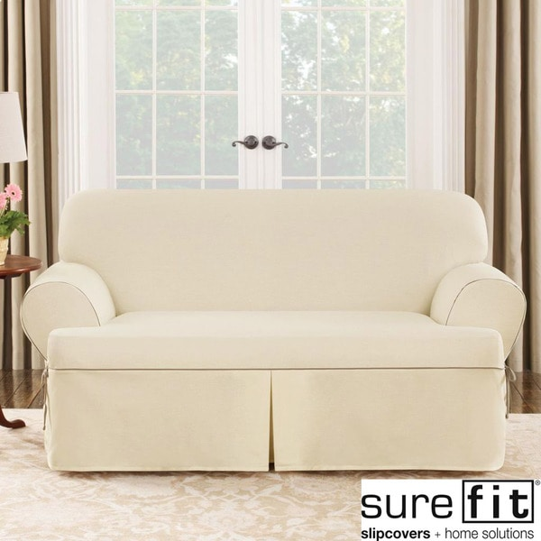 Sure Fit Contrast Cord Duck Natural T cushion Loveseat