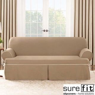 Sure Fit Contrast Cord Cocoa Sofa T-cushion Slipcover