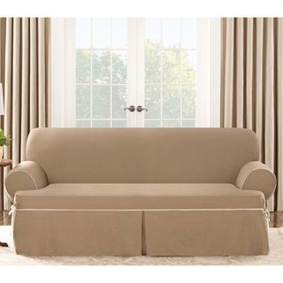 Sure Fit Contrast Cord Cocoa Sofa T-cushion Slipcover