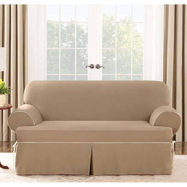 Sure Fit Cocoa Loveseat T-cushion Slipcover