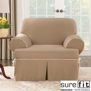 Contrast Cord Duck Cocoa Chair T-Cushion Slipcover