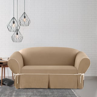 Sure Fit Contrast Cord Duck Cocoa Loveseat Slipcover