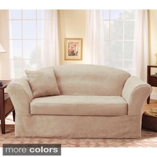 Sure Fit Suede Supreme Taupe Loveseat Slipcover