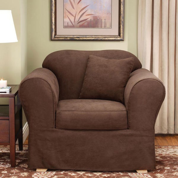 Sure Fit Suede Supreme Chocolate Chair Slipcover