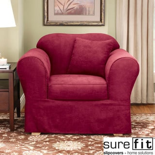 Sure Fit Suede Supreme Burgundy Chair Slipcover