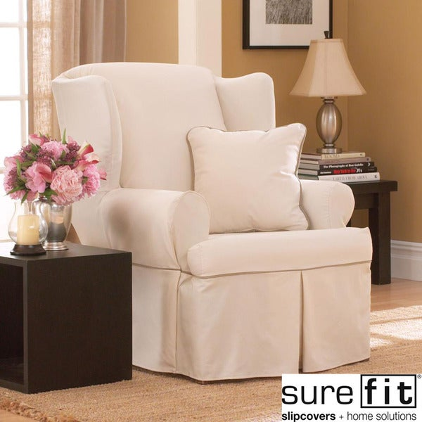 Sure Fit Contrast Cord Duck Natural Wing Chair Slipcover