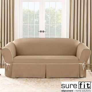 Sure Fit Contrast Cord Cocoa Sofa Slipcover