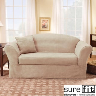 Sure Fit Suede Supreme Taupe Sofa Slipcover