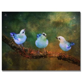 Lois Bryan 'Three Little Blue Birds' Canvas Art