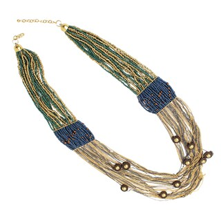 NEXTE Jewelry Two-tone Multi-strand Bead and Chain Fashion Necklace