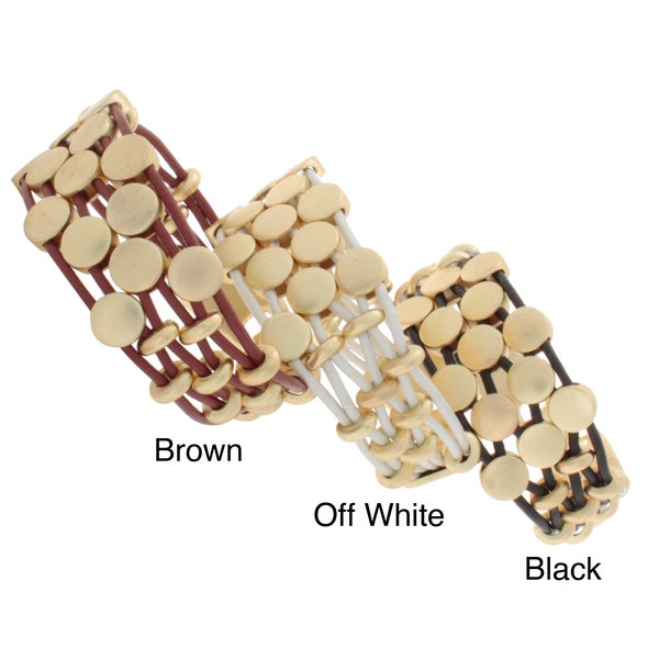 NEXTE Jewelry Goldtone 6-strand Colored Leather Bracelet