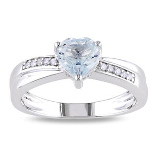 Miadora 10k White Gold Aquamarine and Diamond Ring (G-H, I1-I2)
