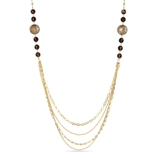 M by Miadora 18k Gold-plated Smokey Quartz Necklace
