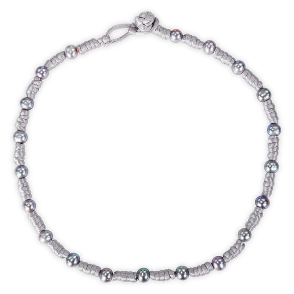 M by Miadora Freshwater Grey Pearl Chinese String Necklace (7.5-8 mm)