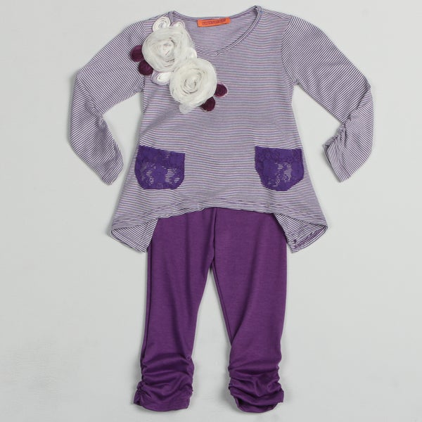 Funkyberry Childrens Purple Striped Top and Solid Legging Set
