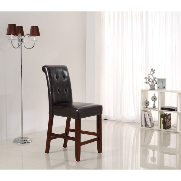 WYNDENHALL Essex Deluxe 24-inch Tufted Counter Bar Stools (Set of 2)