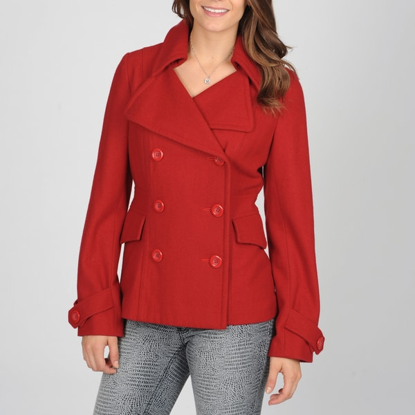 CoffeeShop Juniors Red Wool-blend Peacoat